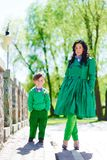 Fashionable baby boy and his gorgeous mother Royalty Free Stock Images