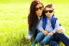 Fashionable baby boy and his stylish mother Royalty Free Stock Photo