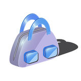 Fashionable bag with two pockets for woman. Violet bag with two blue pockets and blue handles Royalty Free Stock Photo
