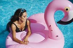 Fashionable and beautiful brunette model girl with perfect body in stylish black bikini and glamorous sunglasses. Posing on an inflatable pink flamingo at the royalty free stock photography