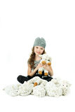 Fashionable beautiful girl playing in the model Royalty Free Stock Photography