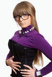 The fashionable beautiful girl wearing glasses Stock Images