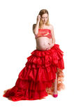 Fashionable Beautiful Pregnant In Luxurious Skirt Royalty Free Stock Images