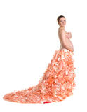 Fashionable beautiful pregnant in luxurious skirt Royalty Free Stock Photo