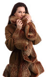 Fashionable Beautiful woman in a fur coat Royalty Free Stock Photography