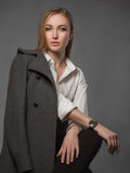 Fashionable Beautiful Woman in topcoat Stock Photo