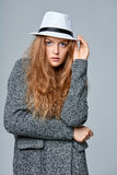 Fashionable beautiful woman in warm knitted cardigan Royalty Free Stock Image