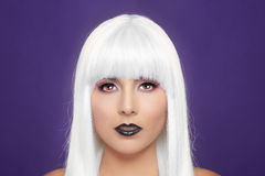 Fashionable Beautiful Woman Wearing a Styled Wig Closeup Royalty Free Stock Image