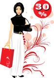 Fashionable Beautiful Woman With Handbag Stock Photography