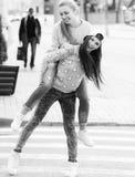 Fashionable beautiful young girlfriends standing Stock Photo