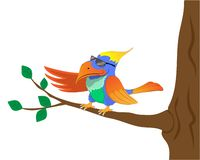 Fashionable bird in black sunglasses flaunts sitting on a tree. vector illustration
