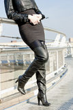 Fashionable black boots Stock Image
