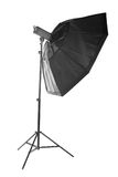 Fashionable black octobox, isolated on a white background. Professional studio equipment for photos. Photostudio equipment: octobox, isolated on a white Stock Photo