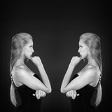 Fashionable black-and-white photo with two girls Royalty Free Stock Image