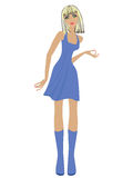 Fashionable blond women in short blue dress Stock Photo