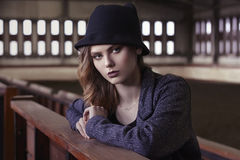 Fashionable blonde girl in hat Royalty Free Stock Photo