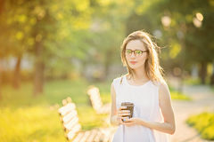 Fashionable blonde girl wearing spectacles Stock Photo