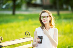 Fashionable blonde girl wearing spectacles Stock Image