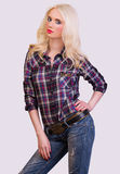 Fashionable blonde model posing Stock Photography