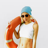 Fashionable Blonde. Summer. Lifebuoy. Fashion style beach Stock Images