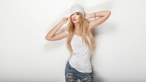 Fashionable blonde woman posing. Stock Image