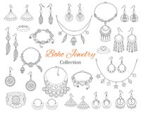 Fashionable boho jewelry accessories collection, vector hand drawn doodle illustration. Fashionable bracelets, necklaces, earrings and rings,  on white Royalty Free Stock Images