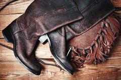 Fashionable boots and bag. Female fashionable boots and bag Royalty Free Stock Photography