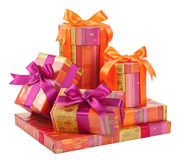 Fashionable boxes with gifts on white Stock Photography