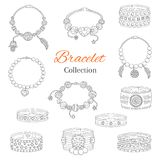 Fashionable bracelets collection, vector hand drawn doodle illustration. Royalty Free Stock Images