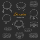 Fashionable bracelets collection, vector hand drawn doodle illustration. Royalty Free Stock Photo
