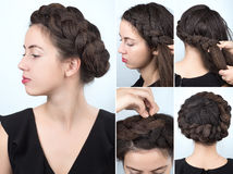 Fashionable braid hairstyle tutorial stock photo