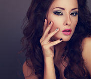 Fashionable Bright Makeup Woman With Long Hair, Creative Manicur Royalty Free Stock Photos