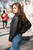 Fashionable brunette beauty. Royalty Free Stock Photos
