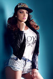 Fashionable brunette beauty posing Stock Photography