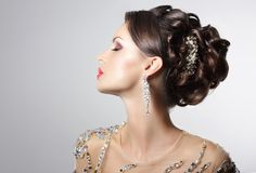 Fashionable Brunette with Costume Jewelry - Trendy Rhinestones and Strass Royalty Free Stock Photo