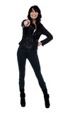 Fashionable brunette pointing forward with closed eyes Stock Photography