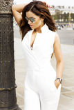 Fashionable brunette woman posing Royalty Free Stock Images