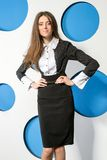 Fashionable business woman on a background of blue Stock Image