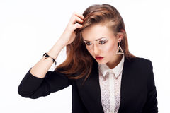Fashionable business woman with evening make-up Stock Images