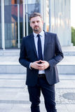 Fashionable businessman in suit Stock Photography