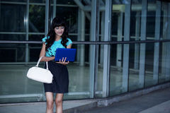 Fashionable businesswoman working on laptop Stock Images