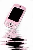 Fashionable cell-phone. A pink fashionable cell-phone isolated on white background Stock Image