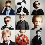 Fashionable child.handsome little boy.Beauty color collage Royalty Free Stock Image