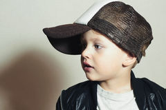 Fashionable Child.stylish little.fashion children.Hip-Hop style Royalty Free Stock Photos
