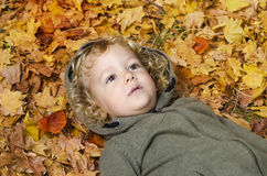 Fashionable closeup photo of cute curly hair blonde child Royalty Free Stock Images
