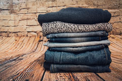 Fashionable clothes. pile of jeans Stock Image