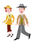 Fashionable clothes of the 1930s. Cartoon couple in the fashionable clothes of the 1930s Royalty Free Stock Images