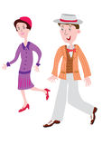 Fashionable clothes of the 1920s. Cartoon couple in the fashionable clothes of the 1920s Royalty Free Stock Images