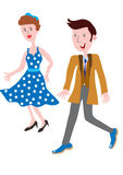 Fashionable clothes of the 1950s. Cartoon couple in the fashionable clothes of the 1950s Royalty Free Stock Images