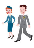 Fashionable clothes of the 1940s. Cartoon couple in the fashionable clothes of the 1940s Royalty Free Stock Images